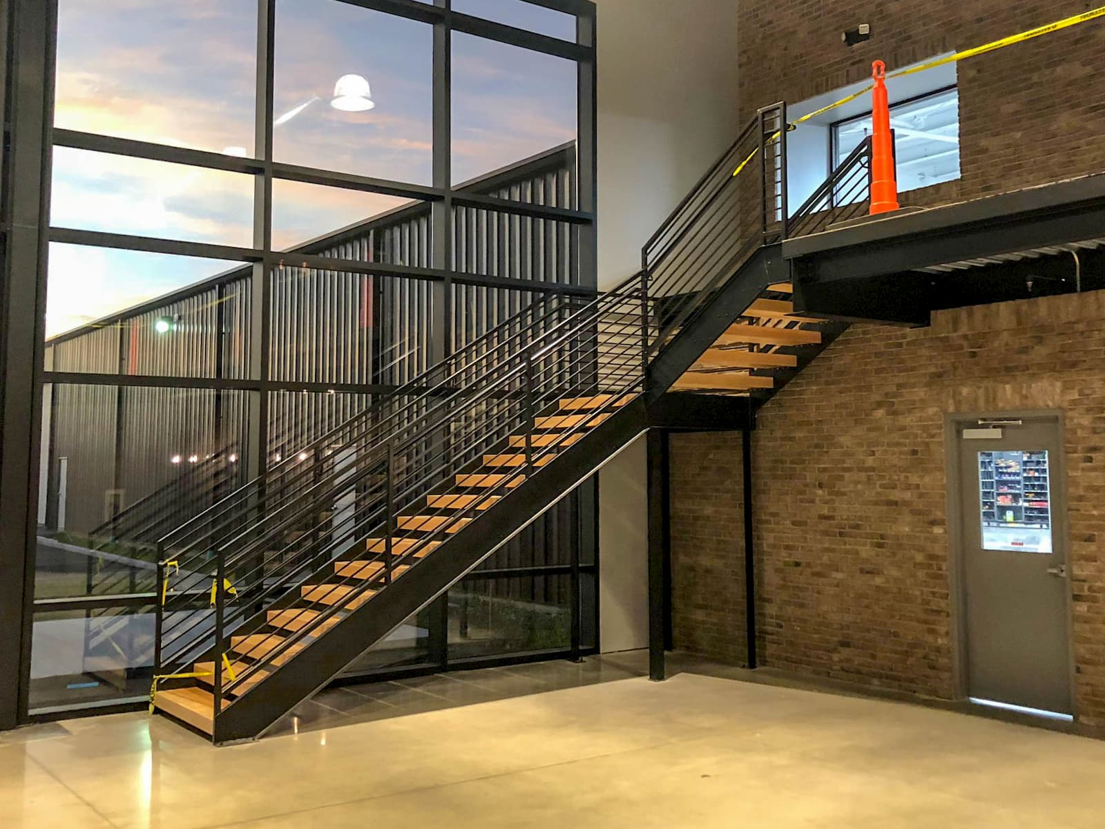 Commercial Stair with 90 Degree Turn to Balcony