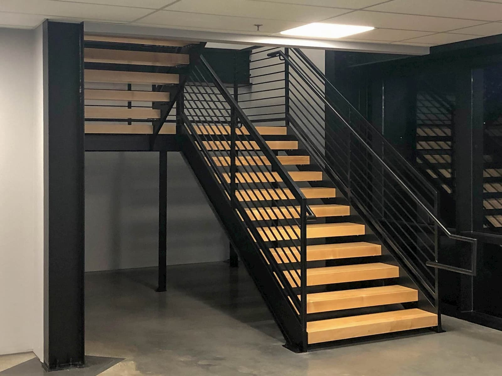 Commercial Stair with Wood Treads